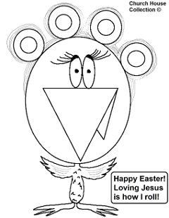 Easter Coloring Pages- Chicken with hair rollers coloring page- Chicken coloring pages Happy Easter Loving Jesus Is How I Roll Coloring Pages For Sunday School Kids- by ChurchHouseCollection.com Easter Egg Coloring Pages for Sunday School Preschool Kids