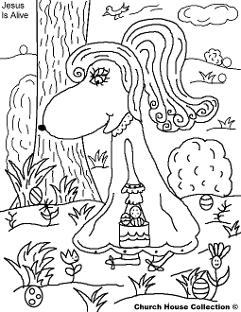 Easter Egg Hunting Coloring Pages- Easter Coloring Pages- Jesus is Alive Coloring Pages  by ChurchHouseCollection.com Easter Egg Coloring Pages for Sunday School Preschool Kids