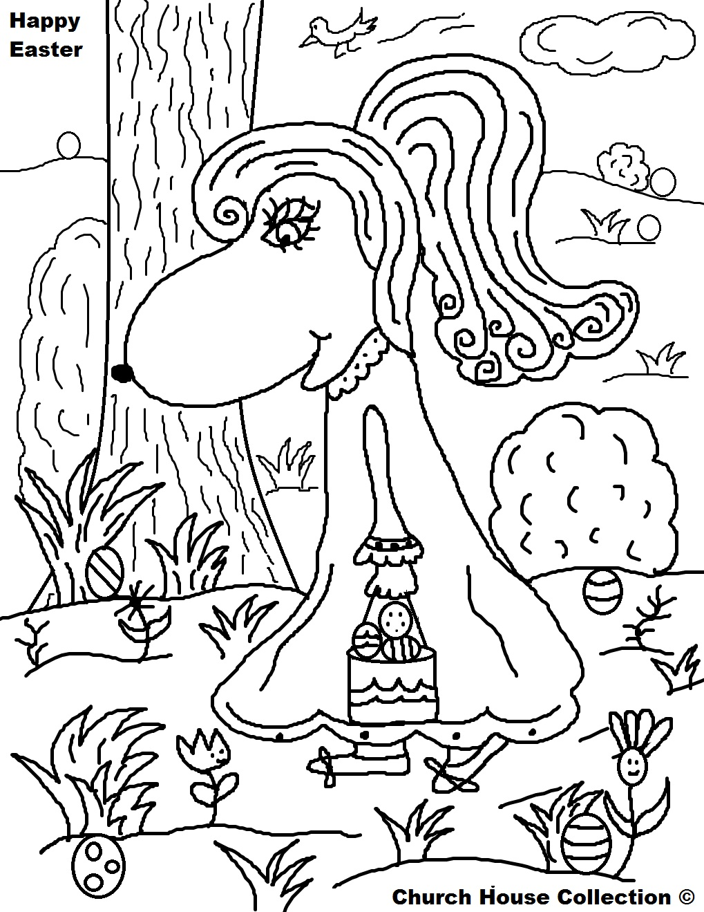 Girl Animal Hunting Easter Eggs Coloring Page