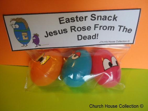 Easter Egg With Bible Snacks Jesus Rose From Dead Ziplock Bag Plastic Eggs by ChurchHouseCollection.com Easter Snack Ideas by Church House Collection