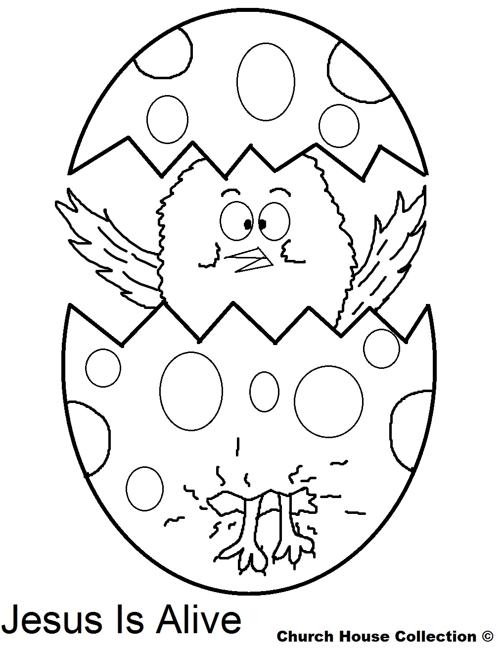 Coloring Pages Jesus Is Alive Easter Chick Popping Out Of Egg