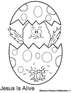 Easter Chick Popping out of Egg coloring pages- Easter Coloring Pages- Jesus is Alive Coloring Pages by ChurchHouseCollection.com Easter Egg Coloring Pages for Sunday School Preschool Kids