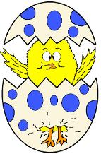 Free Holiday Coloring Pages for kindergarten preschool School Kids- Easter Coloring pages, Fall Coloring Pages, Winter Coloring Pages, Summer Coloring Pages, Yellow Chick Popping Out of Egg with blue polk a dots on it Coloring Pages