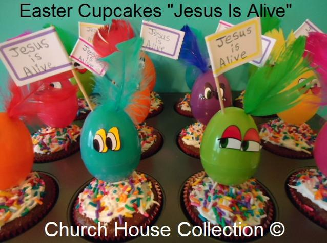 Easter Snacks Easter Cupcakes Jesus Is Alive by ChurchHouseCollection.com Plastic Easter Eggs used as cupcake toppers with feathers