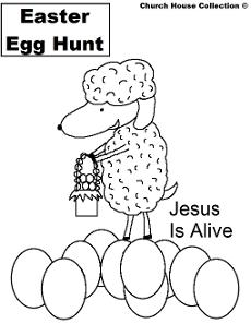 Easter Egg Hunt Coloring Pages- Easter Coloring Pages- Jesus is Alive-Sheep holding a Easter Basket standing on Easter Eggs coloring pages by ChurchHouseCollection.com Easter Egg Coloring Pages for Sunday School Preschool Kids