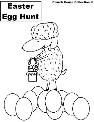 Easter Coloring Pages For Kids | Church House Collection | Easter Sheep holding Easter Egg basket on top of Easter Eggs | Black and White Easter Coloring Sheets For Toddlers | Easter Egg Hunt Coloring Pages