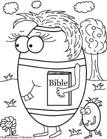 Easter Egg Holding BIble Coloring Page for Sunday school  by ChurchHouseCollection.com Easter Egg Coloring Pages for Sunday School Preschool Kids