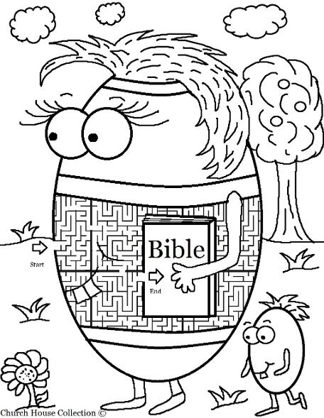 Easter Egg With Bible Maze For Sunday School or Children's Church by ChurchHouseCollection.com Easter Egg Coloring Pages for Childrens Church Sunday School For Preschool Kids