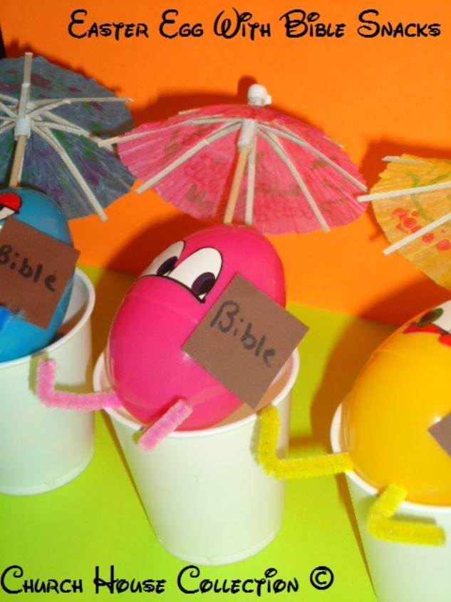 Easter Egg With Bible Snacks For Kids In Sunday School using Plastic eggs and umbrellas by ChurchHouseCollection.com