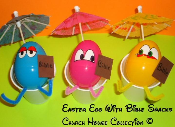Easter Egg With Bible Snacks For Kids In Sundsy School- plastic eggs and umbrellas by ChurchHouseCollection.com