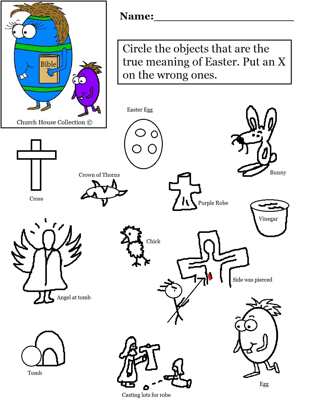 Easter Egg With Bible Worksheet Circle The Object – Easter Worksheet