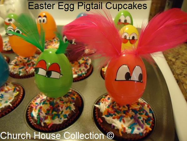 Easter Snacks Easter Egg Cupcakes With Pigtails Feathers by ChurchHouseCollection.com - Plastic Easter Eggs Snack Ideas for Kids