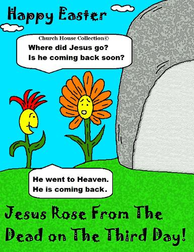 Happy Easter Jesus Rose From The Dead On The Third Day! Tomb Cliart Picture Cartoon by Church House Collection©