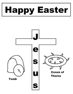Easter Coloring Pages-Happy Easter Jesus Tomb Crown Of Thorns Coloring Pages  by ChurchHouseCollection.com Easter Resurrection Coloring Pages for Sunday School Preschool Kids