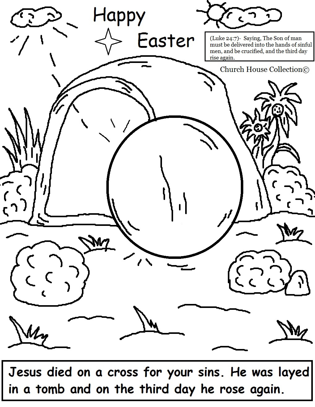 Easter Coloring Pages Resurrection Tomb Page By Church House CollectionC From