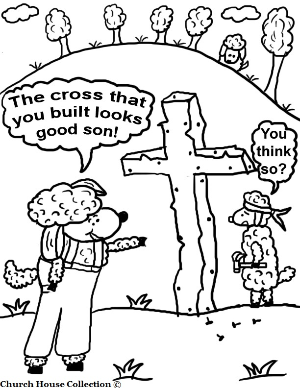 This Is A Free Printable Easter Coloring Page For Kids In Sunday School To Color Picture I Drew Of Father Sheep Telling His Son That The Cross
