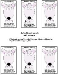 Easter Sheep Sunday school lesson- Easter sheep templates- Magenets, Stickers, Popsicle stick puppets