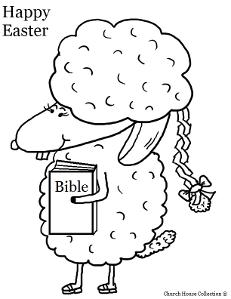 Easter Coloring Pages Easter Sheep with bible and braided hair coloring sheet by ChurchHouseCollection.com Easter Sheep Coloring Pages for Sunday School Preschool Kids