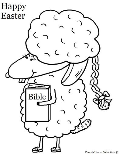 Easter Sunday School Coloring Pages For Kids | Church House Collection | Easter Sheep Holding Bible Coloring Pages For Sunday School