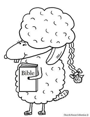 Easter Sheep With Braid and Bible Coloring Page For Sunday School