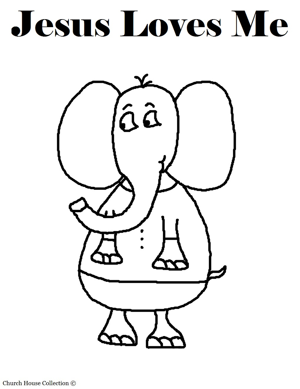 jesus loves me elephant coloring page with words