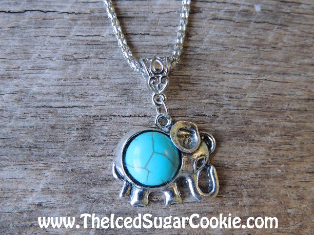 Elephant Turquoise Faux Necklace by The Iced Sugar Cookie - Jewelry For Girls and Women. Safari Animals Turquoise Necklaces