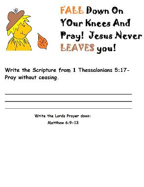 Fall Activity Page for Sunday school