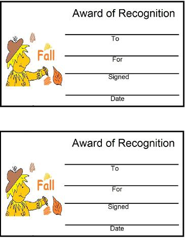 Fall Award Certificates