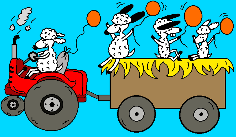 Fall Festival Hay Ride Harvest Festival Sheep on Tractor With Orange Balloons Coloring Pages