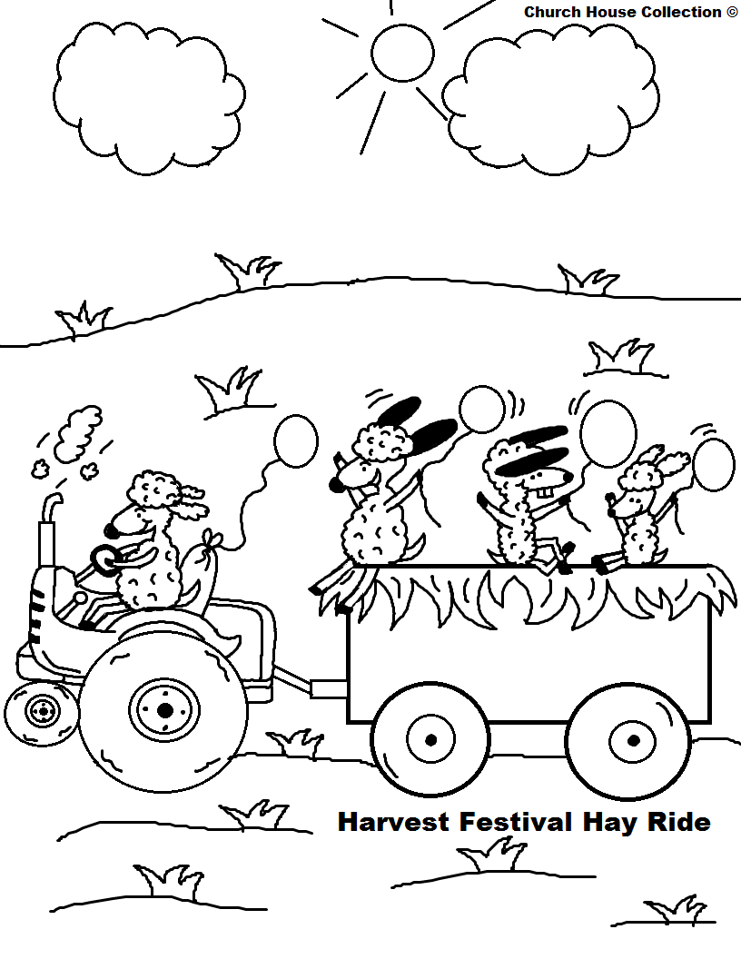 Fall Festival Hay Ride Coloring Page Sheep on Tractor with balloons