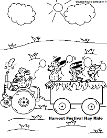 Sheep Riding A Tractor and Hay Ride Coloring Page. Harvest Festival Coloring Page