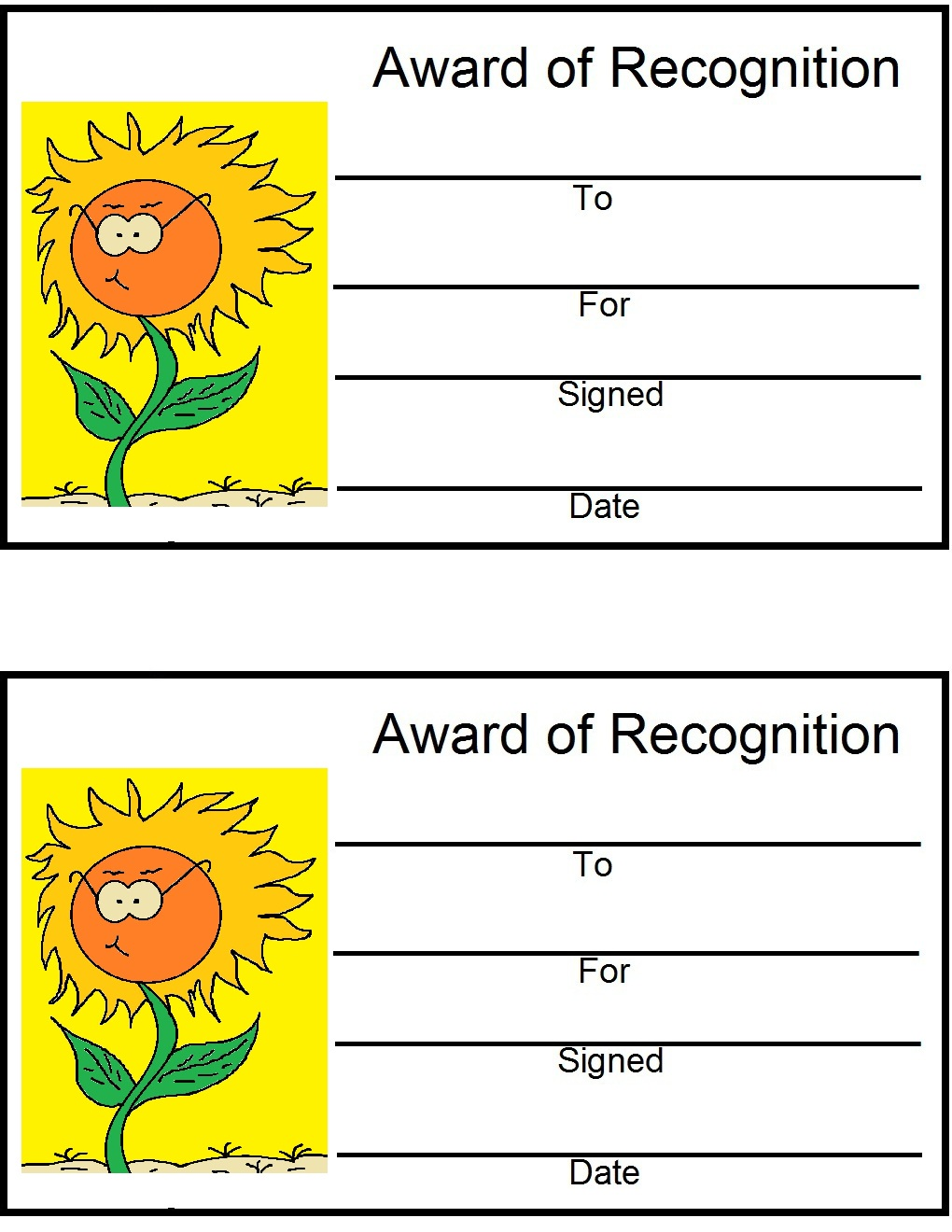 Printable Fall Awards
