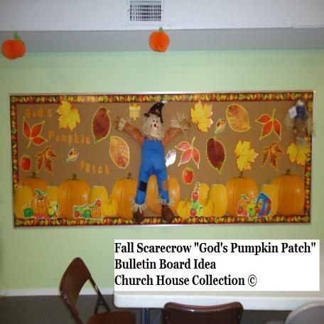 Scarecrow bulletin board fall autumn sunday school