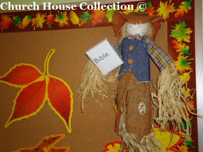 Fall Scarecrow Bulletin Board Idea God's Pumpkin Patch- Scarecrow Holding A Bible- Autumn Bulletin Board Ideas For Your Classroom by Church House Collection