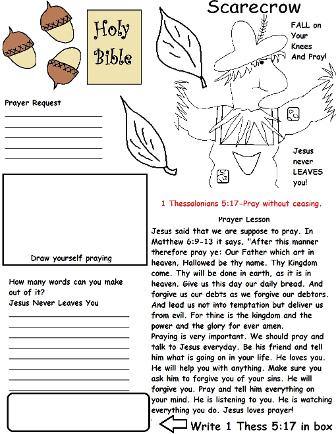 Fall Activity Sheet For Sunday School