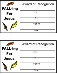 FALL-ing For Jesus Leaves Award Certificate