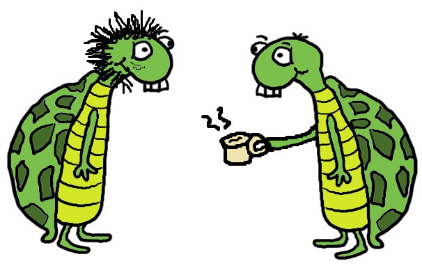 Father's Day Turtle Clipart Drinking Coffee