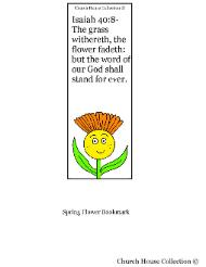 Flower Sunday school lesson Flower Bookmark- Isaiah 40:8