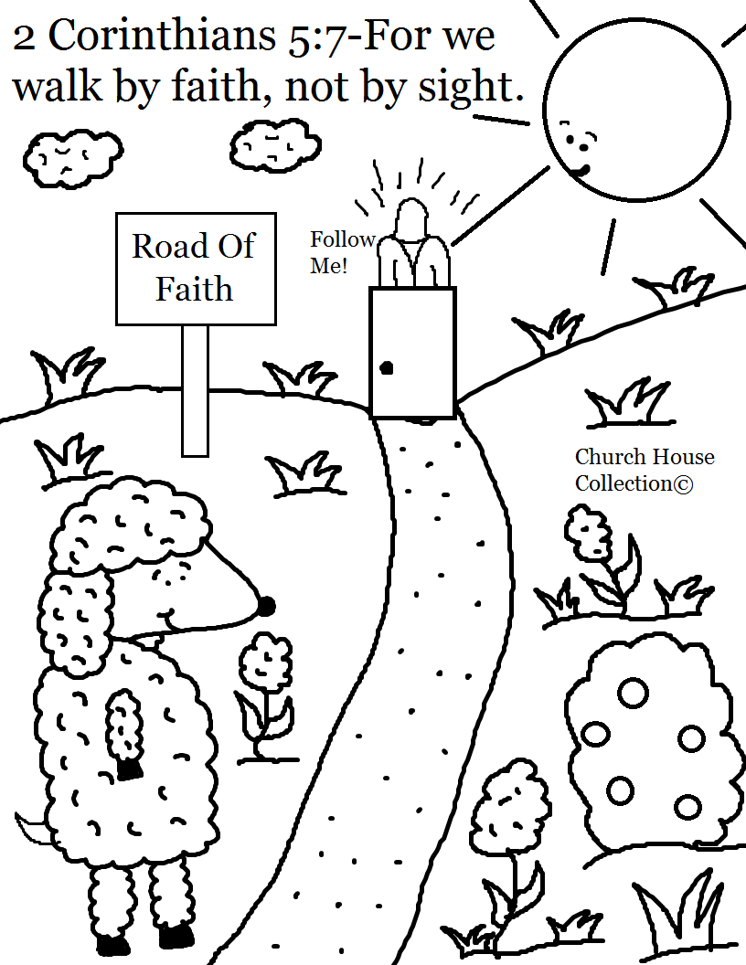 Coloring Pages For Following Jesus. Black and White Coloring Page  printable version For We Walk By Faith