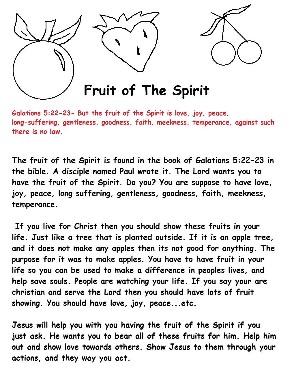 Worksheets Fruit Of The Spirit Worksheets fruit of the spirit sunday school lesson printable version