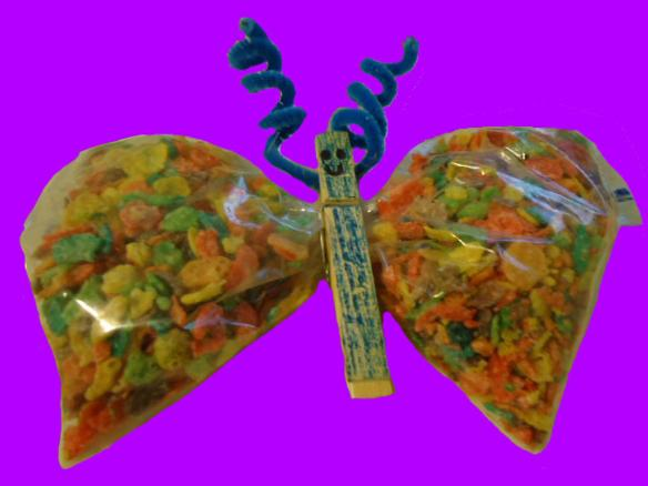 Fruity Spring Butterfly snacks for kids. Fruity Pebbles Snack Idea for Sunday School or Children's Church.