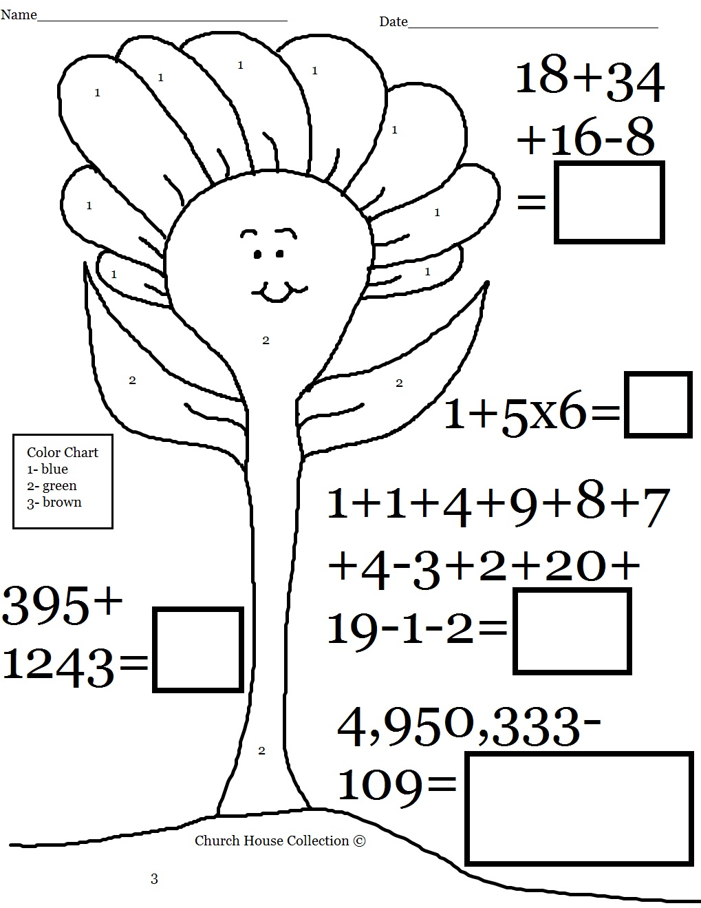 Fun Color By Number And Math Problems Worksheet – Maths is Fun Worksheets