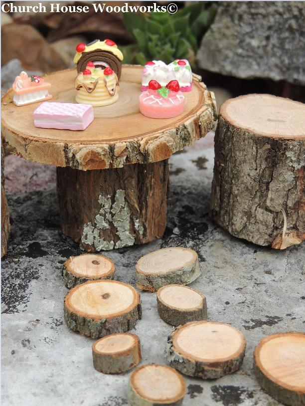Wood Slices For Sale- Rustic Wood Miniature Table with Stump Chairs and tiny mini wood slices for rock path- Use for Garden Decorations. By Church House Woodworks