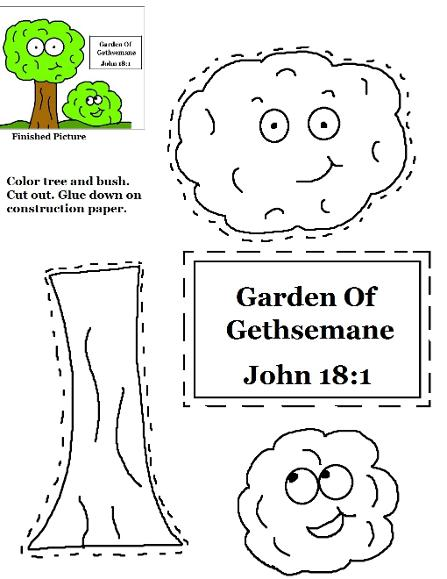 Garden of Gethsemane Cutout Activity Sheet for kids- Garden sunday school lesson