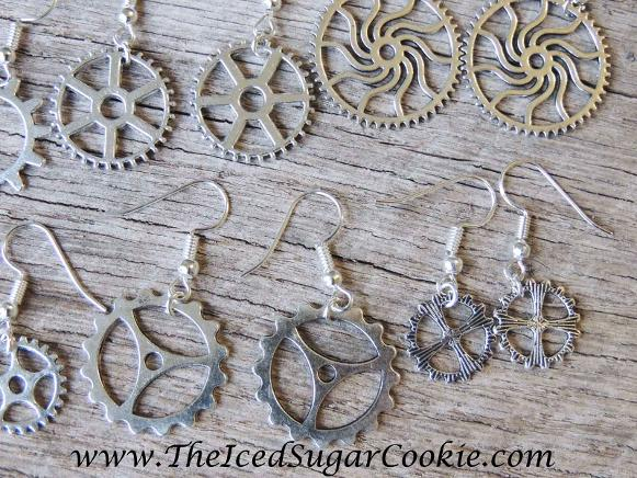 Steampunk Gear Earrings Jewelry by The Iced Sugar Cookie Trendy Fashion for teen girls and women.