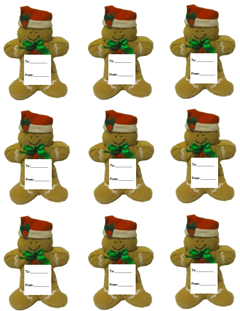 Free Gingerbread Gift Tags For Christmas Presents by Church House Collection- Free Printable Gingerbread Cutout Templates
