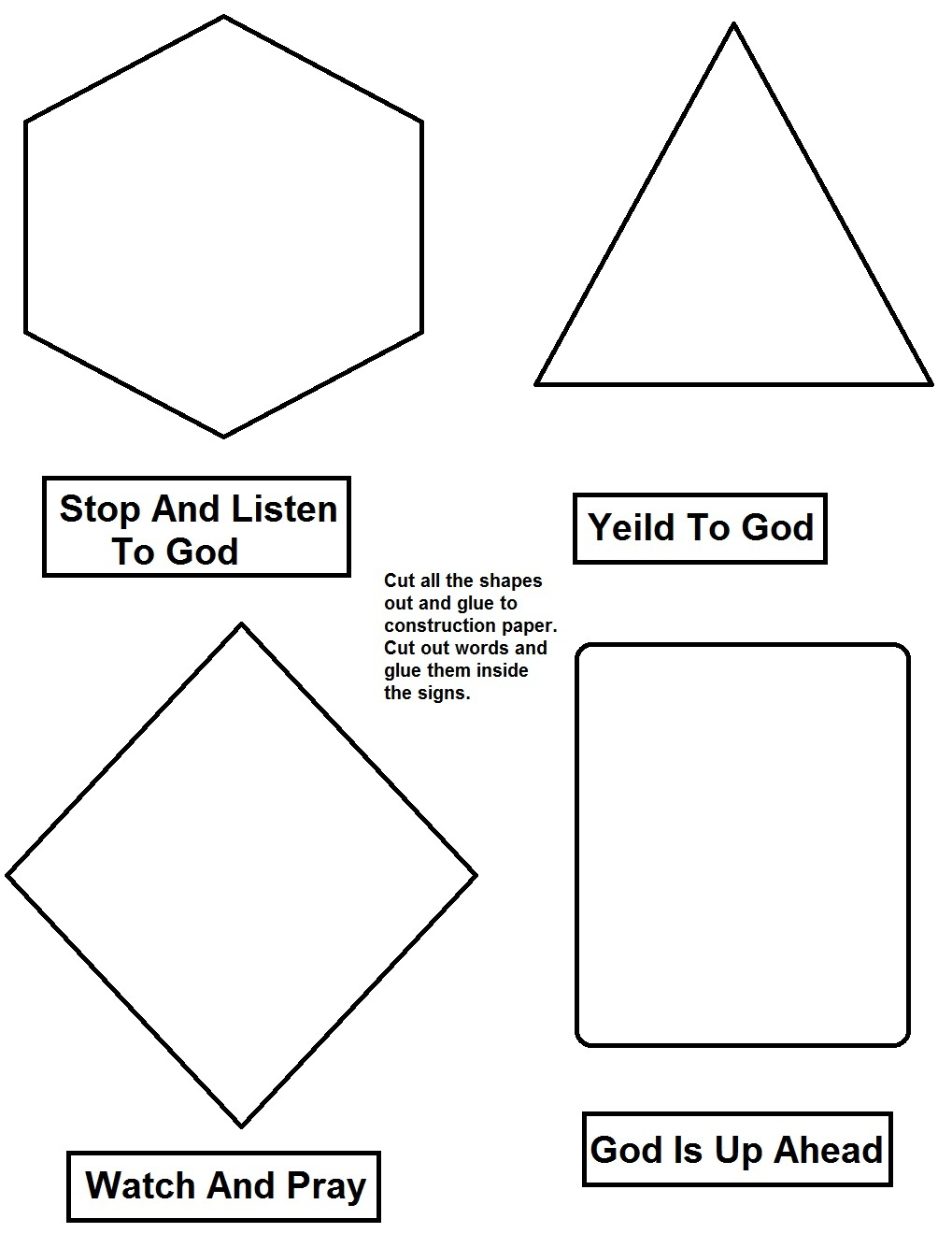 Gods road signs lesson gods road signs activity page robcynllc Images