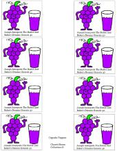 Grapes With Grape Juice Cupcake Topper Template With Words