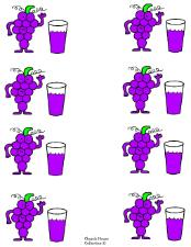 Grapes with grape juice cupcake topper template