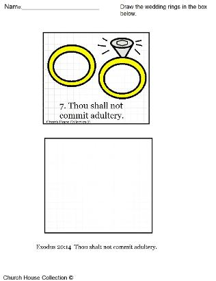 Thou Shalt Not Commit Adultery for ten commandments grid drawing activity worksheet